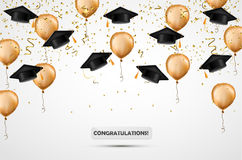 Graduation hat. Confetti and gold balloons. Vector illustration. Celebration background. Student cup. On white stock illustration