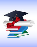 Graduation Hat And Degree On The Books. Vector illustration of a graduation hat and the diploma certificate on the books Royalty Free Stock Photos