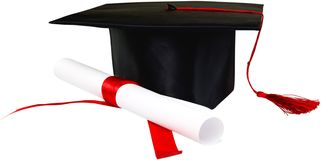 Graduation Hat and Diploma - royalty free stock photography