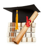 Graduation hat and diploma Royalty Free Stock Image