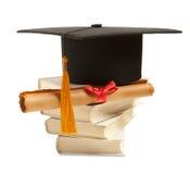 Graduation hat and diploma Stock Image