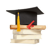 Graduation hat and diploma Royalty Free Stock Photography