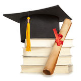 Graduation hat and diploma Stock Photo