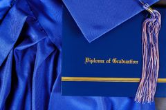 Graduation hat and diploma certificate front view. Graduate college concept education university success achievement school degree academic cap celebration stock photography