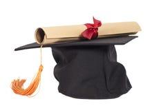 Graduation Hat and Diploma Royalty Free Stock Photos