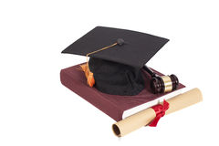 Graduation Hat with Diploma,Judge gavel and book Royalty Free Stock Images