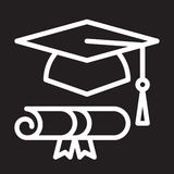 Graduation hat and diploma line icon, white outline sign, vector illustration Stock Photo