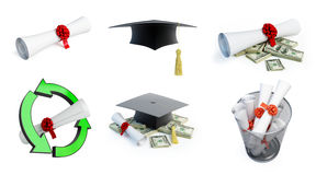 Graduation hat diploma set Royalty Free Stock Photography