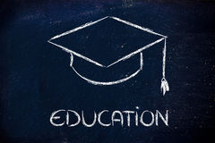 Graduation hat and Education writing Royalty Free Stock Photo