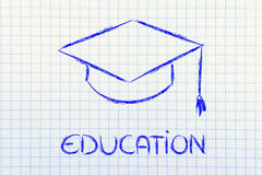 Graduation hat and Education writing Royalty Free Stock Images