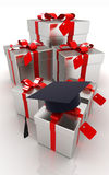 Graduation hat and gifts Stock Images