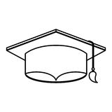 Graduation hat isolated icon Stock Images