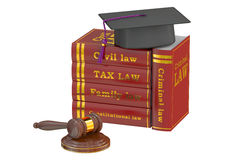 Graduation Hat with Judge Gavel and Books, Law Education Concept Royalty Free Stock Photo
