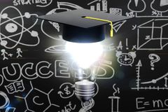 Graduation hat with lamp bulb Stock Photo