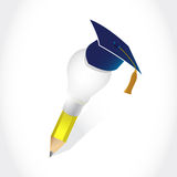 Graduation hat and light bulb idea pencil Stock Image