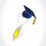 Graduation hat and light bulb idea pencil. Illustration design over a white background Stock Image