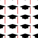 Graduation hat Logo Template Design Elements. Vector illustration isolated on white background. Seamless pattern royalty free illustration