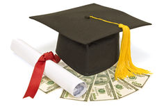 Graduation Hat With Money Stock Photos