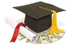 Graduation Hat With Money Stock Photos