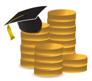 Graduation hat and money illustration design Royalty Free Stock Photography