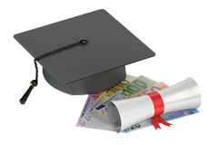 Graduation hat, money and scroll, 3D rendering Royalty Free Stock Photo