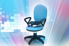 Graduation hat in office chair Stock Image