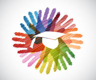 graduation hat over diversity hands circle Stock Image