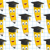 Graduation Hat Pencil Seamless Pattern Stock Photography