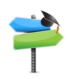 Graduation hat and road sign illustration design Royalty Free Stock Image