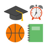 Graduation hat and school icons  vector illustration. Royalty Free Stock Images
