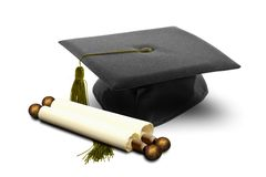 Graduation hat and scroll Stock Photo