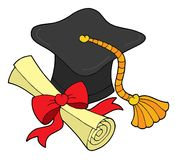 Graduation hat and scroll. Vector illustration Royalty Free Stock Images