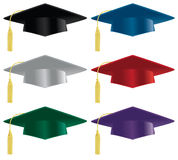 Graduation hat. A selection of graduation hats in a variety of colors Stock Photos