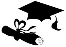 Graduation hat seniors senior diploma. Silhouettes - isolated on white background Stock Photo