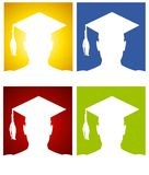Graduation Hat Silhouette Backgrounds Royalty Free Stock Photography