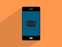 Graduation Hat  on smartphone,cell phone illustration Royalty Free Stock Photography