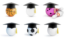 Graduation hat sport set. Isolated on White Background. 3D illustration Royalty Free Stock Images