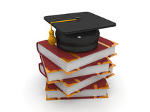 Graduation Hat On A Stack Of Books. It can be used for educational institutions, websites, posters, business. It represents a particular aim or goal to achieve Royalty Free Stock Photography