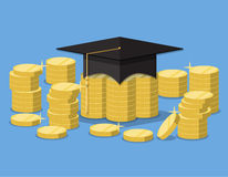 Graduation hat on stack of golden coins. Royalty Free Stock Photo