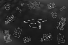 Graduation hat surrounded by mixed school items Stock Photos