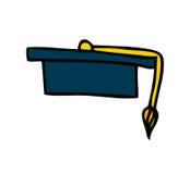 Graduation hat uniform icon Stock Image
