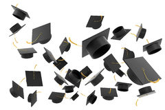 Graduation hat on white background Stock Images