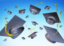 Graduation hats in the air. Graduating day throw hat in the sky Stock Image