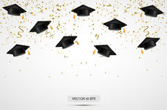 Graduation hats with confetti. Celebration background. Vector. Graduation hats with confetti. Celebration background. Vector illustration Stock Image