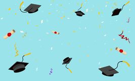 Free Graduation Hats Fly In Sky Poster Graduation Caps Scrolls Confetti Flat Design Vector Illustration Stock Image - 140946751