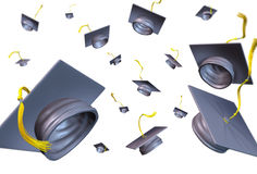 Graduation hats thrown in the air Stock Photography