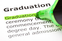 'Graduation' highlighted in green Stock Photography