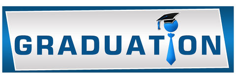 Graduation Horizontal. Banner image with graduation text with hat over the creative I royalty free illustration