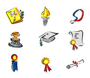 Graduation Icons Royalty Free Stock Photos
