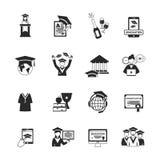 Graduation Icons Black Stock Photo